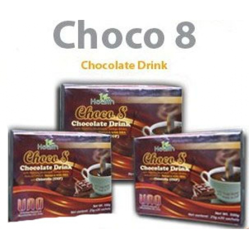 Choco 8 Chocolate Drink With Agaricus Mushroom, Ginkgo Biloba, Natural Calcium, Chlorella (CGF)and Omega 3 with DHA